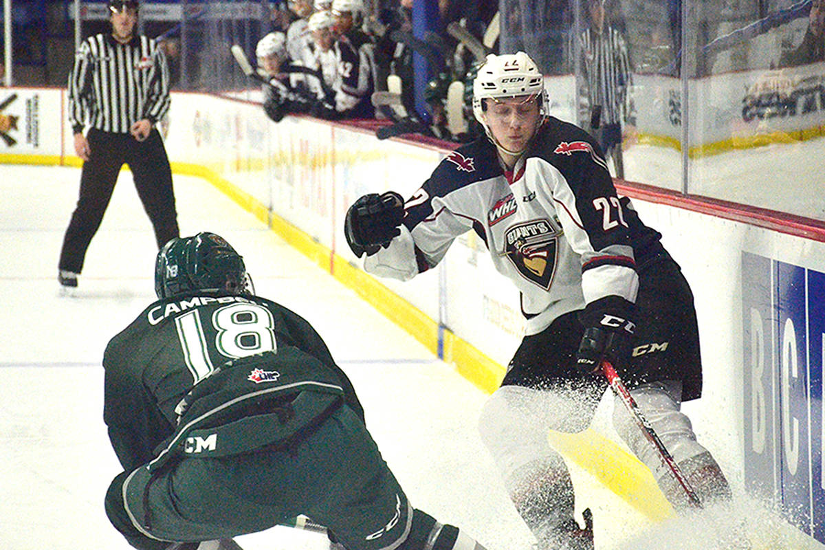 Vancouver Giants dropped a 2-1 decision to the Everett Silvertips on Thursday night (Jan. 23) at Langley Events Centre in Western Hockey League action. (Gary Ahuja/Langley Events Centre)