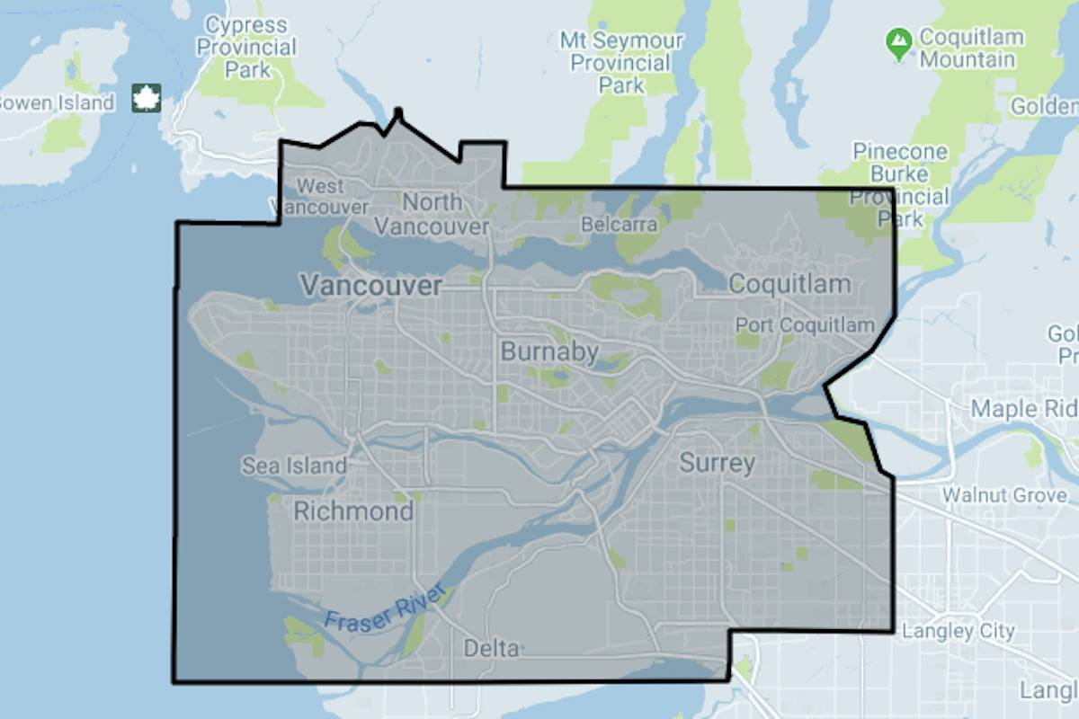 This Uber map shows where it will be operating around Vancouver initially. (Uber.com)