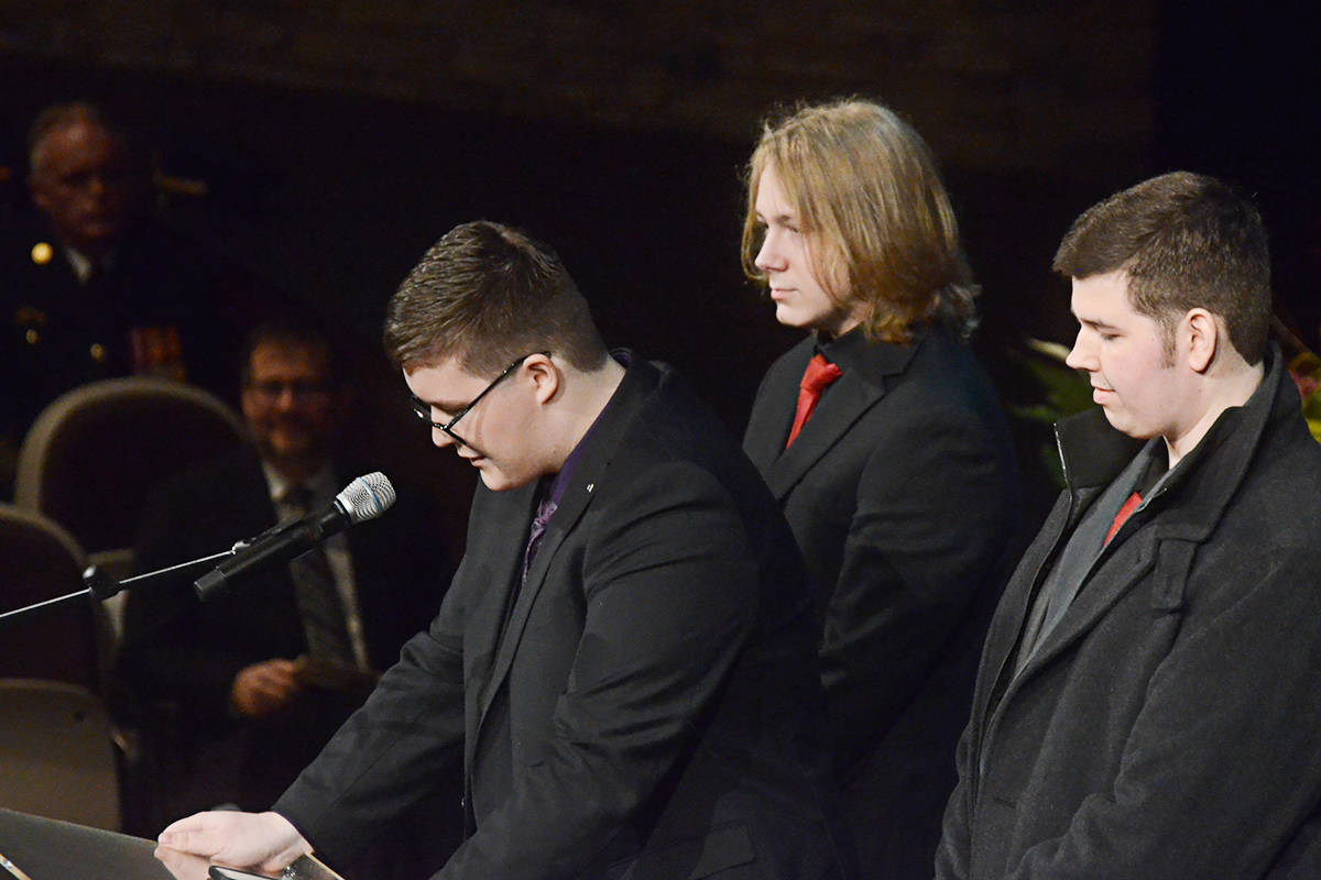 Ethan Morgan, left, one of Debbie Froese's grandsons, spoke at her celebration of life on behalf of her grandchildren. (Matthew Claxton/Langley Advance Times)