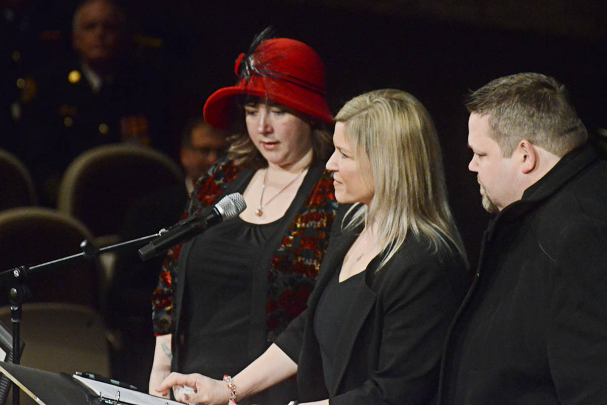 Jenny, Marilyn, and Jason, Debbie Froese's three children, spoke at her celebration of life on Friday, Jan. 24. (Matthew Claxton/Langley Advance Times)