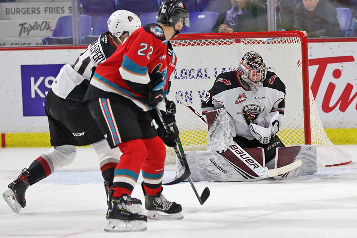 Giants suffered a 3-2 overtime loss on home ice at the Langley Events Centre against the Kelowna Rockets. (Rob Wilton/special to Langley Advance Times)