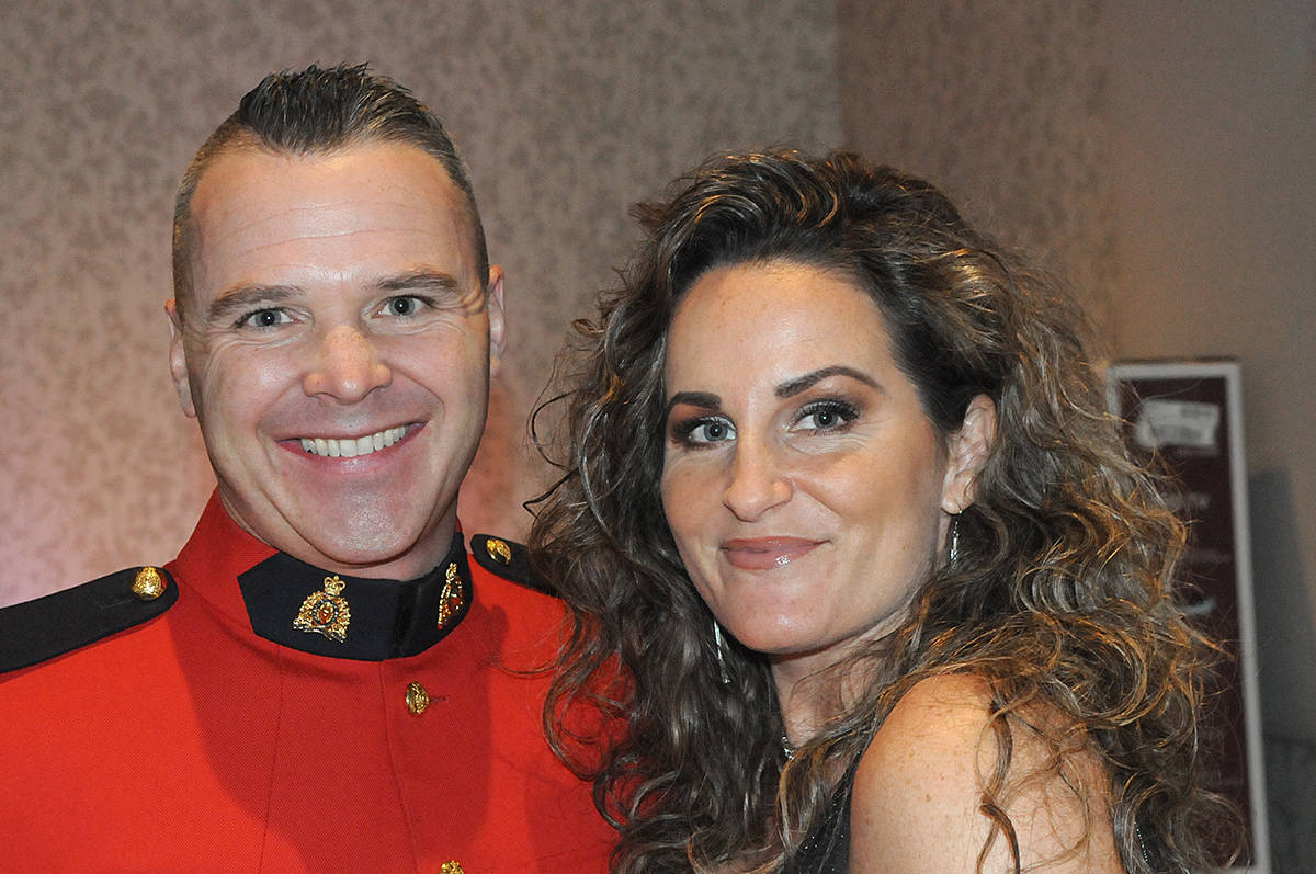 """RCMP officers were able to wear their red serge dress uniforms while civilians wore their best formal wear at the first """"Winter Wonderland"""" fundraiser held at the Cascades Casino and Resort in Langley City on Saturday, Jan. 25 (Dan Ferguson/Langley Advance Times)"""