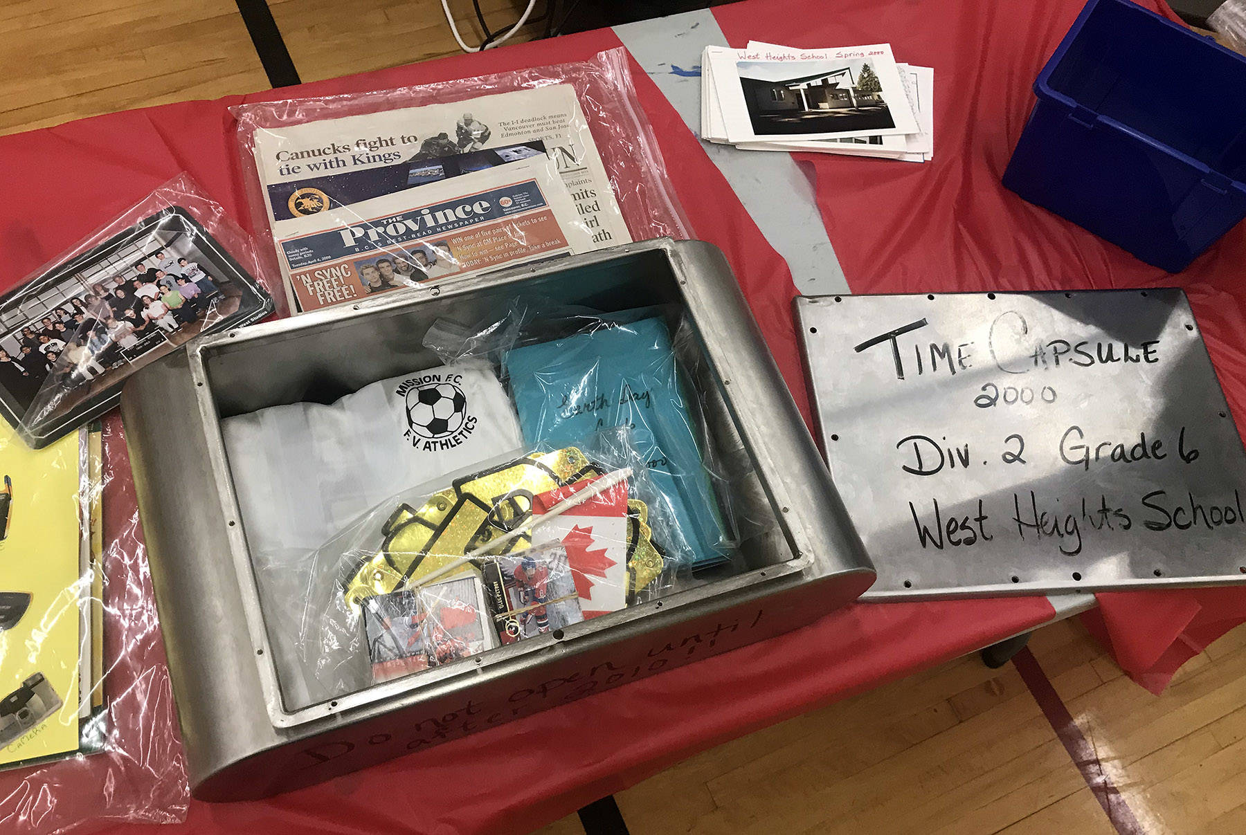 Newspapers, hockey cards discovered in Mission school's forgotten time capsule