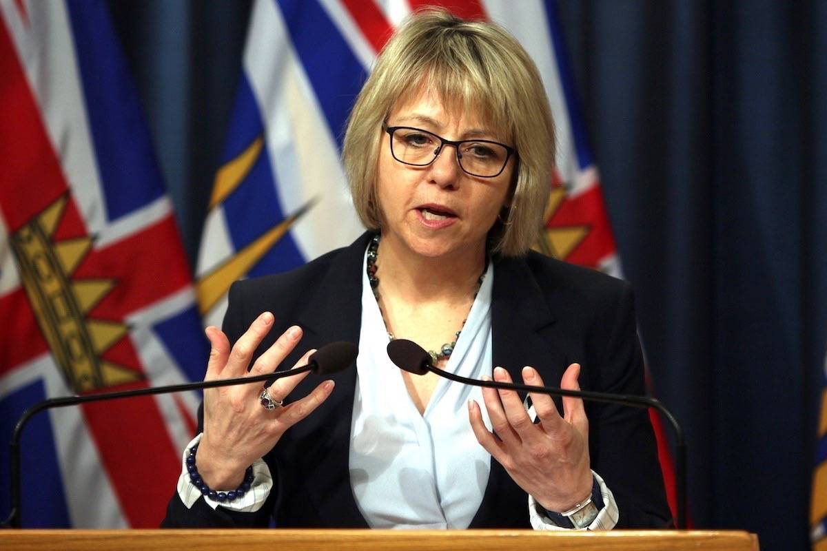 Provincial health officer Dr. Bonnie Henry answers questions about overdose deaths at the B.C. legislature, Feb. 7, 2019. (Chad Hipolito/The Canadian Press)