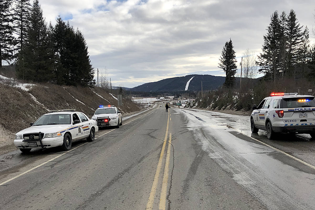RCMP asked residents living at Lynes Creek Road and Highway 97 north of Williams Lake to stay in their homes on Jan. 29, 2020. Police set up road blocks and were checking vehicles. (Photo submitted)