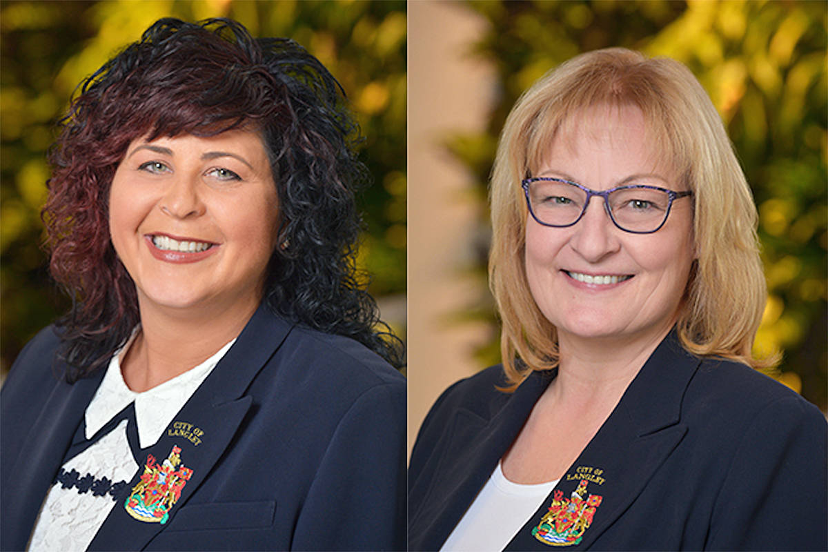 Langley City Mayor Val van den Broek (left) and Coun. Teri James were at odds over the mayor's recent gala fundraiser. (Special to the Langley Advance Times)