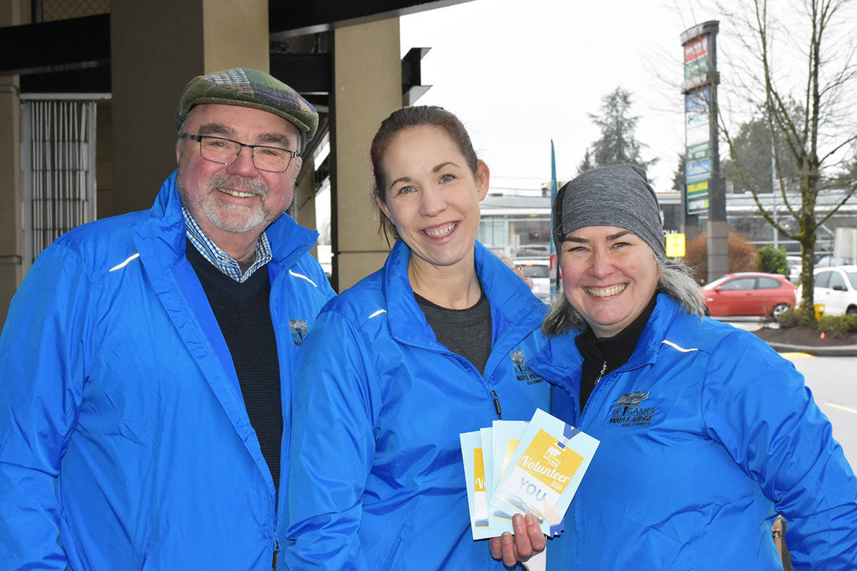Ernie Daykin, Brenda Norrie and Kim Dumore were drumming up support for the Maple Ridge 2020 BC Summer Games outside the Save-On-Foods at Westgate Shopping Centre on Saturday (Jan 25). (Ronan O'Doherty photo - THE NEWS)