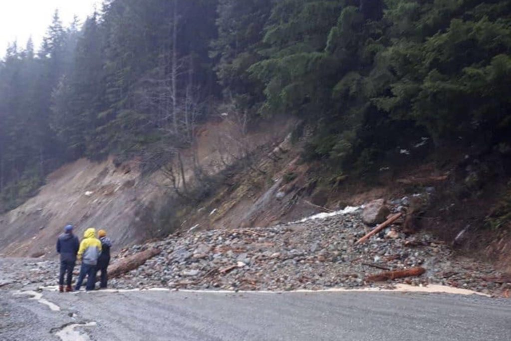 The remains of Hemlock Valley road, pictured on Feb. 1, 2020, leading up to Sasquatch Mountain Resort in Agassiz. (Zandy Modeste/Contributed)