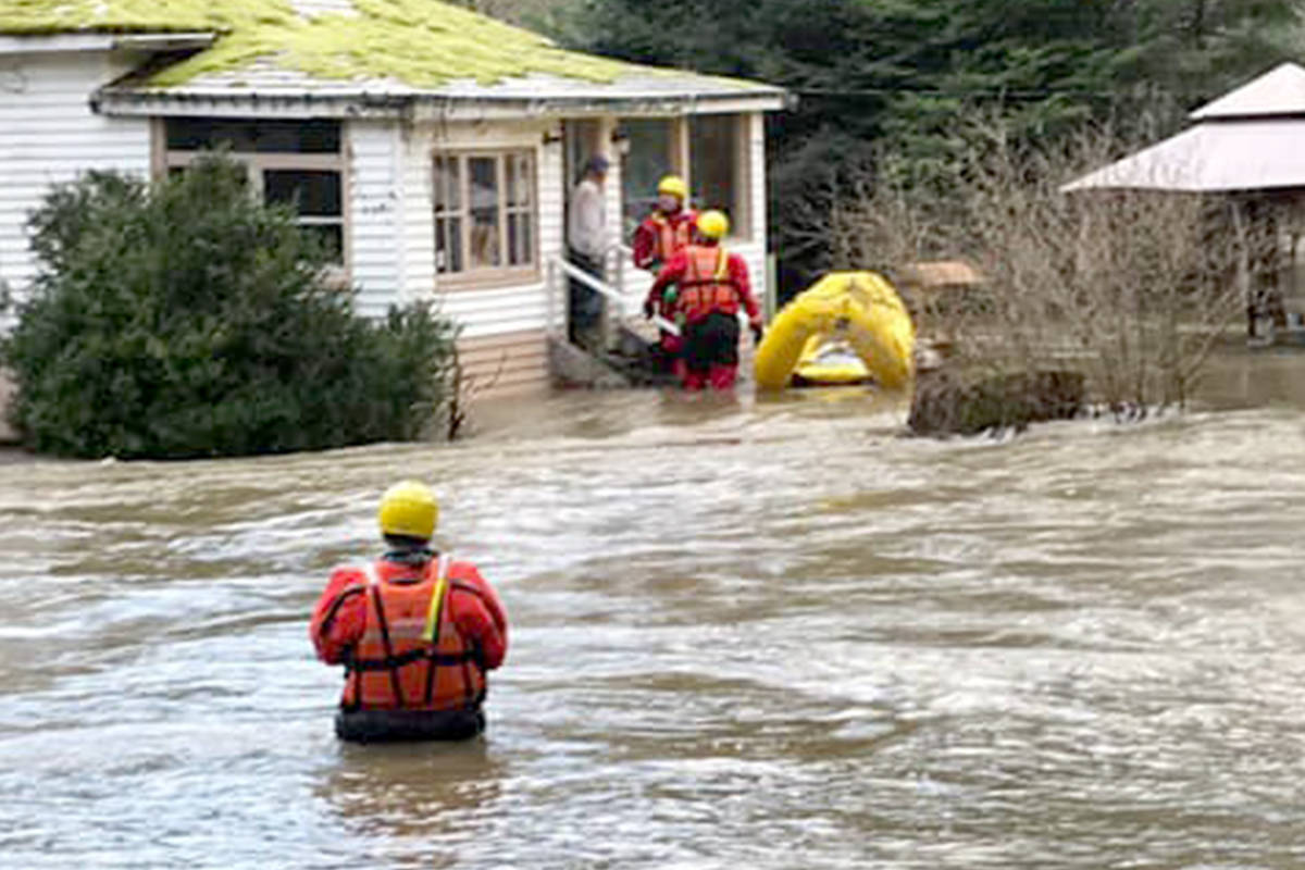 Rescue crews assisted with evacuating people in the Cedar area due to flooding Saturday. (North Cedar Fire Department Facebook)