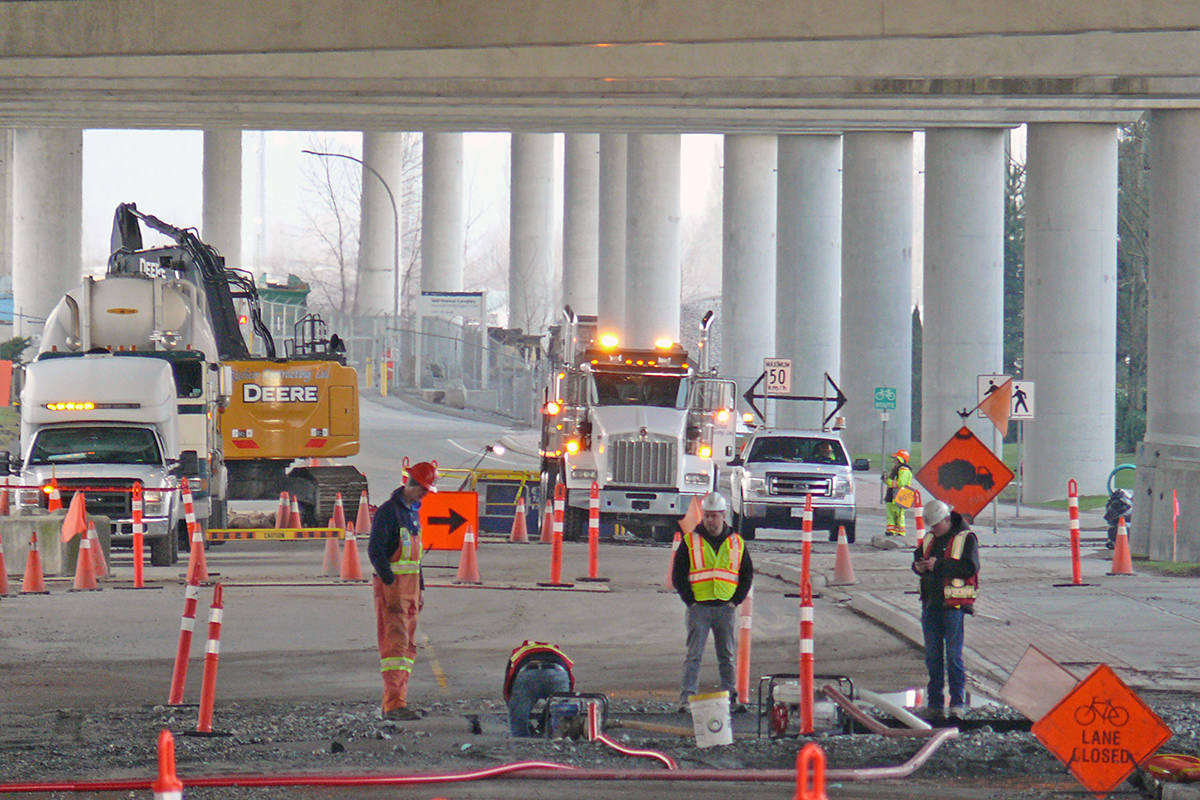Crews were working to fix a burst water main near the south end of the Golden Ears bridge in Langley Sunday (Feb. 2) (Dan Ferguson/Langley Advance Times)