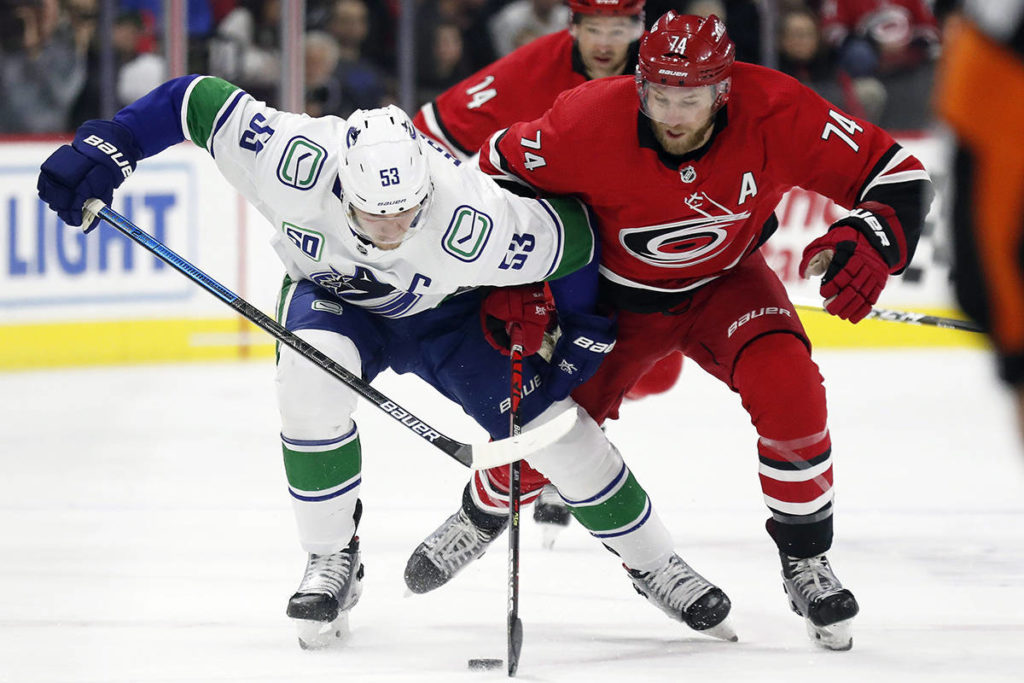Vancouver Canucks centre Bo Horvat (53) and Carolina Hurricanes defenceman Jaccob Slavin (74) vie for the puck during the first period of an NHL hockey game in Raleigh, N.C., Sunday, Feb. 2, 2020. (AP Photo/Gerry Broome)