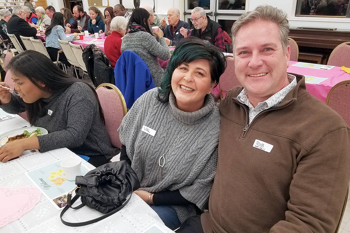 Langley City mayor Val van den Broek and husband Rob were among the attendees at the One Table community dinner at the Shepherd of the Valley church on Saturday, (Feb. 1). It drew 68 people. (Dan Ferguson/Langley Advance Times)
