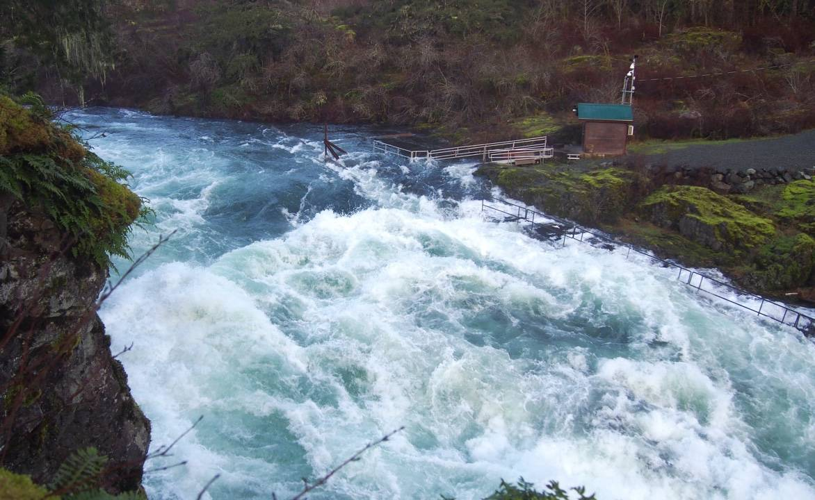 Rapids surge below Sproat River Bridge Saturday. The river is swollen after a big storm dumped heavy rain on the west coast of British Columbia. (MIKE YOUDS/ Special to the News)