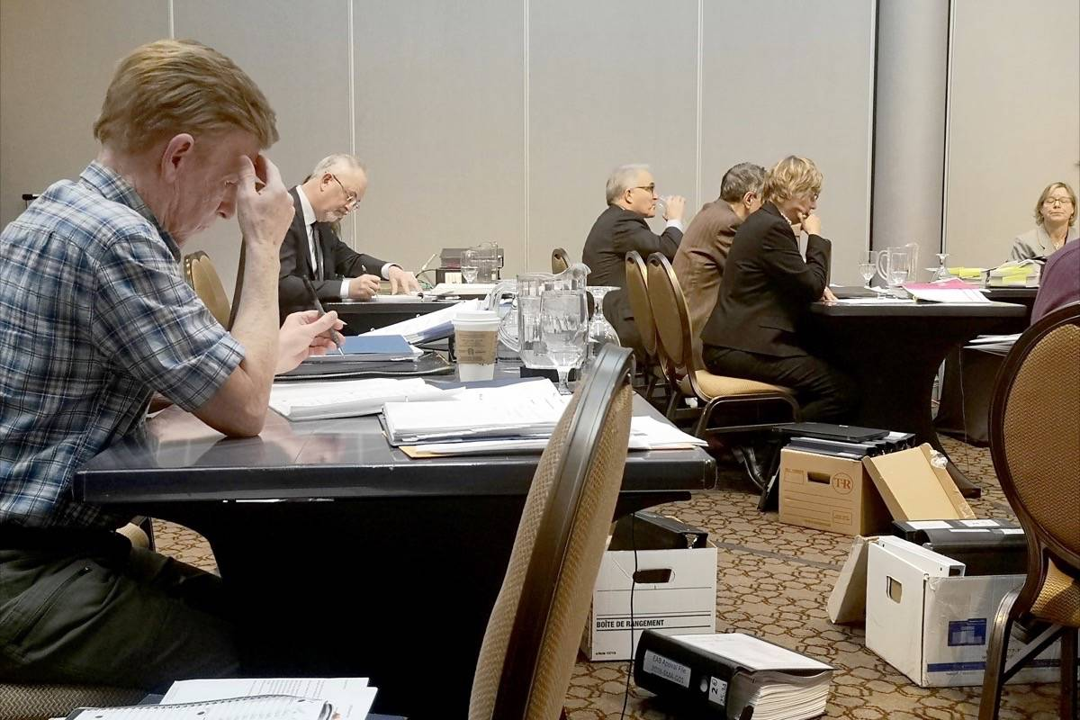 Terry McNeice (left) begins the appellants' cross-examination of Metro Vancouver's first witness, Dr. Katherine Preston Tuesday. (Tracy Holmes photo)