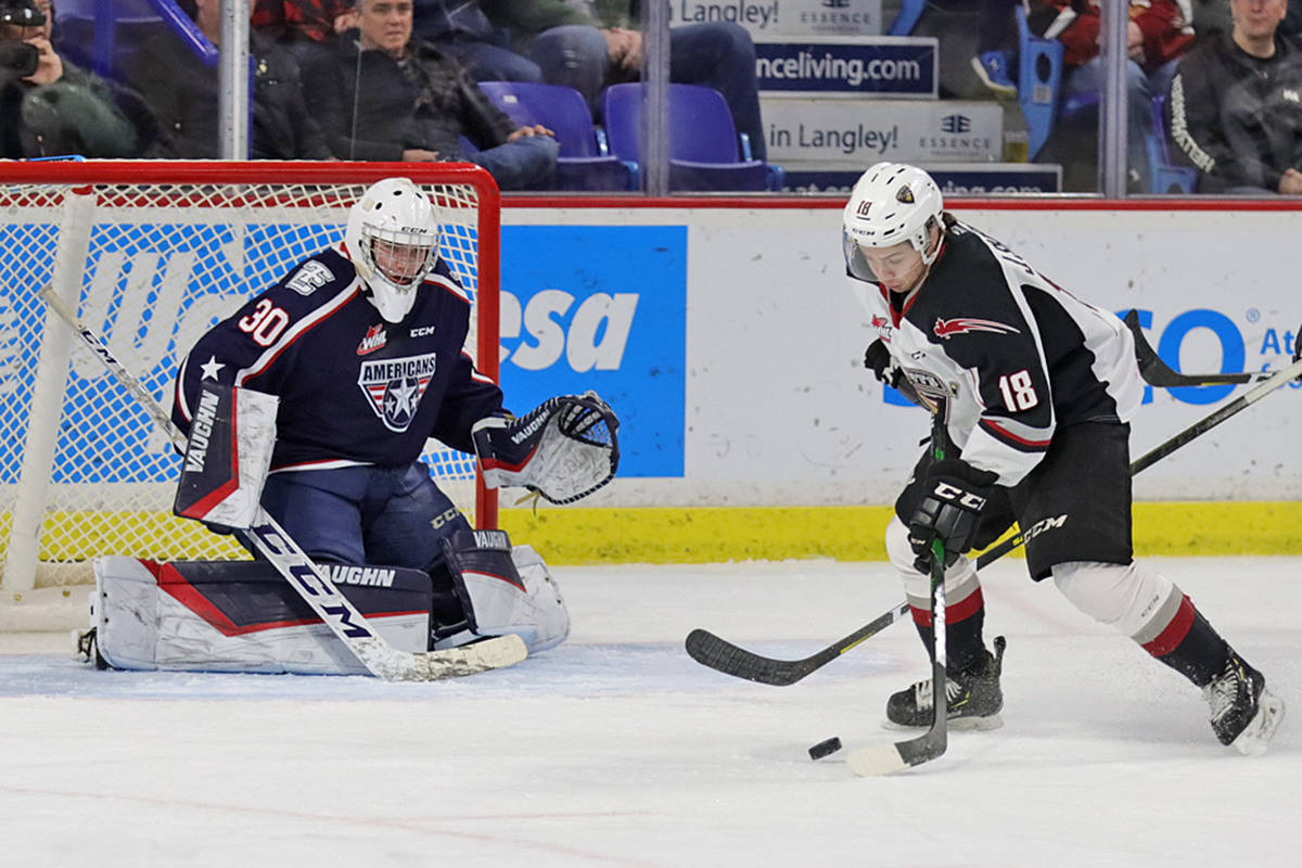 Cole Shepard recorded four assists as the Vancouver Giants scored a franchise-best dozen goals to down the Tri-City Americans 12-4 on home ice at the Langley Events Centre on Tuesday, Feb. 5 (Rob Wilton/special to Langley Advance Times)