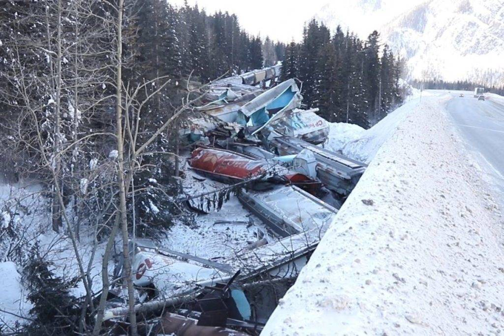 A freight train killed the three men on board when it derailed near Field, B.C., early Monday morning. (The Canadian Press)