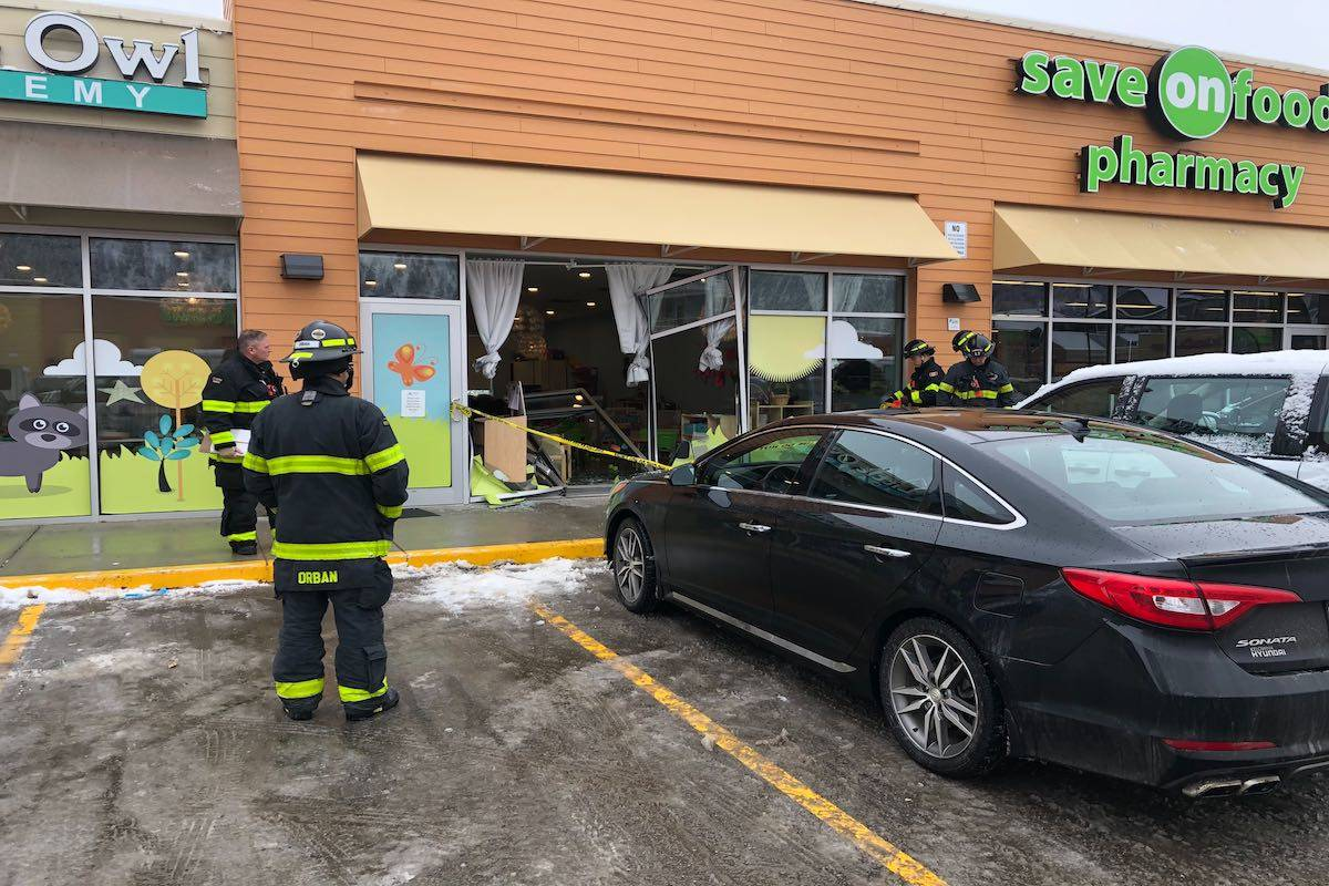 A car crashed through the front of Little Owl Academy in Kelowna on Friday morning (Feb. 7). (Mackenzie Britton - Capital News).