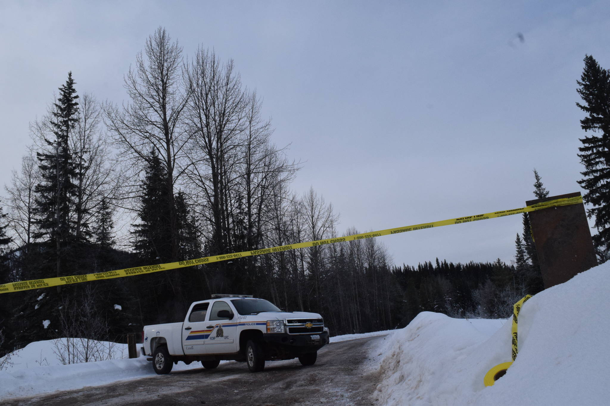 An RCMP truck is pictured at the location of an RCMP exclusion zone at the 27-kilometre point of the Morice West Forest Service Road near Houston, B.C., on Feb. 6, 2020. (Trevor Hewitt photo)