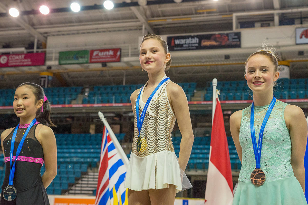 Langley's Kayla Halliday (centre) took gold at the B.C. Winter Games in 2018. She will be competing in the 2020 Games in Fort St. John (Games photo)