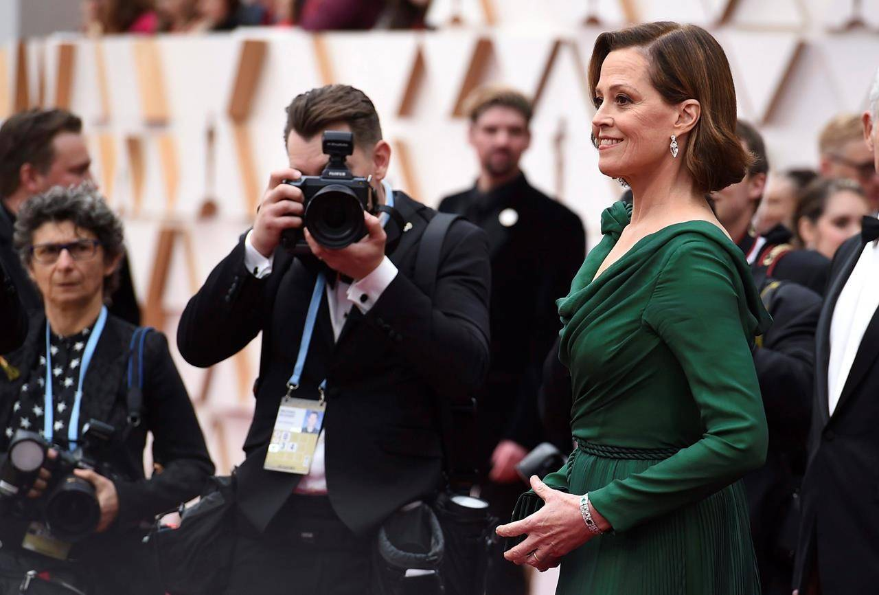 Sigourney Weaver arrives at the Oscars on Sunday, Feb. 9, 2020, at the Dolby Theatre in Los Angeles. (Photo by Jordan Strauss/Invision/AP