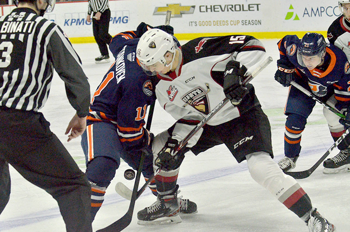 Katzalay Vancouver scored four unanswered goals as part of a five-goal period to defeat Kamloops 7-3 at Langley Events Centre Sunday, Feb. 10 (Gary Ahuja/special to Langley Advance Times)