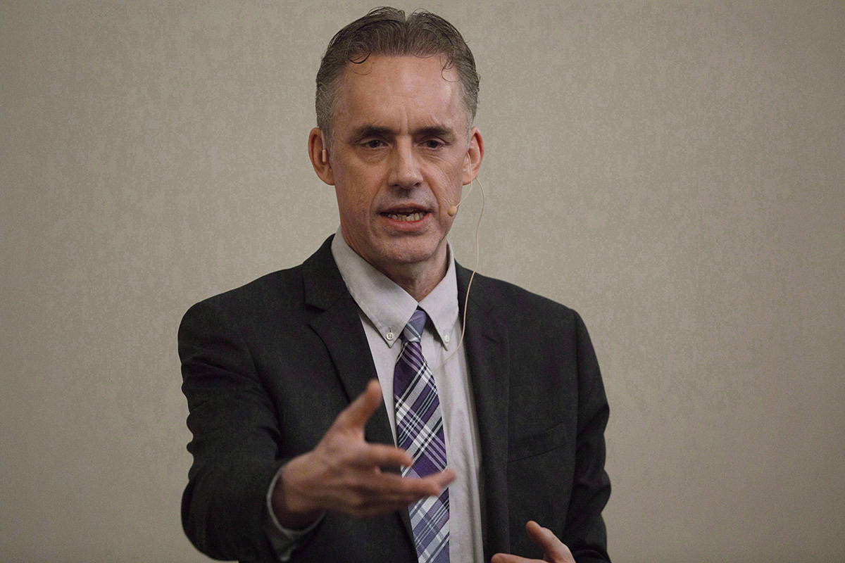 Jordan Peterson speaks to a crowd during a stop in Sherwood Park, Alta, on Sunday, February 11, 2018. Peterson`s family says the controversial Toronto author and professor is recovering from an addiction to benzodiazepine. THE CANADIAN PRESS/Jason Franson