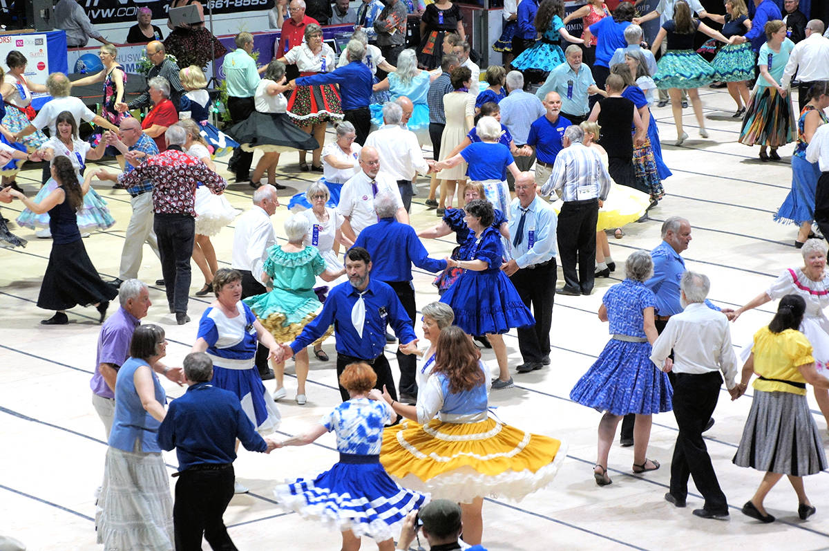 """Square dancers show their moves at the three-day provincial """"Festival 2019"""" last summer in Salmon Arm. The event attracted around 500 participants. A new square dance club has now been formed in the Fraser Valley."""