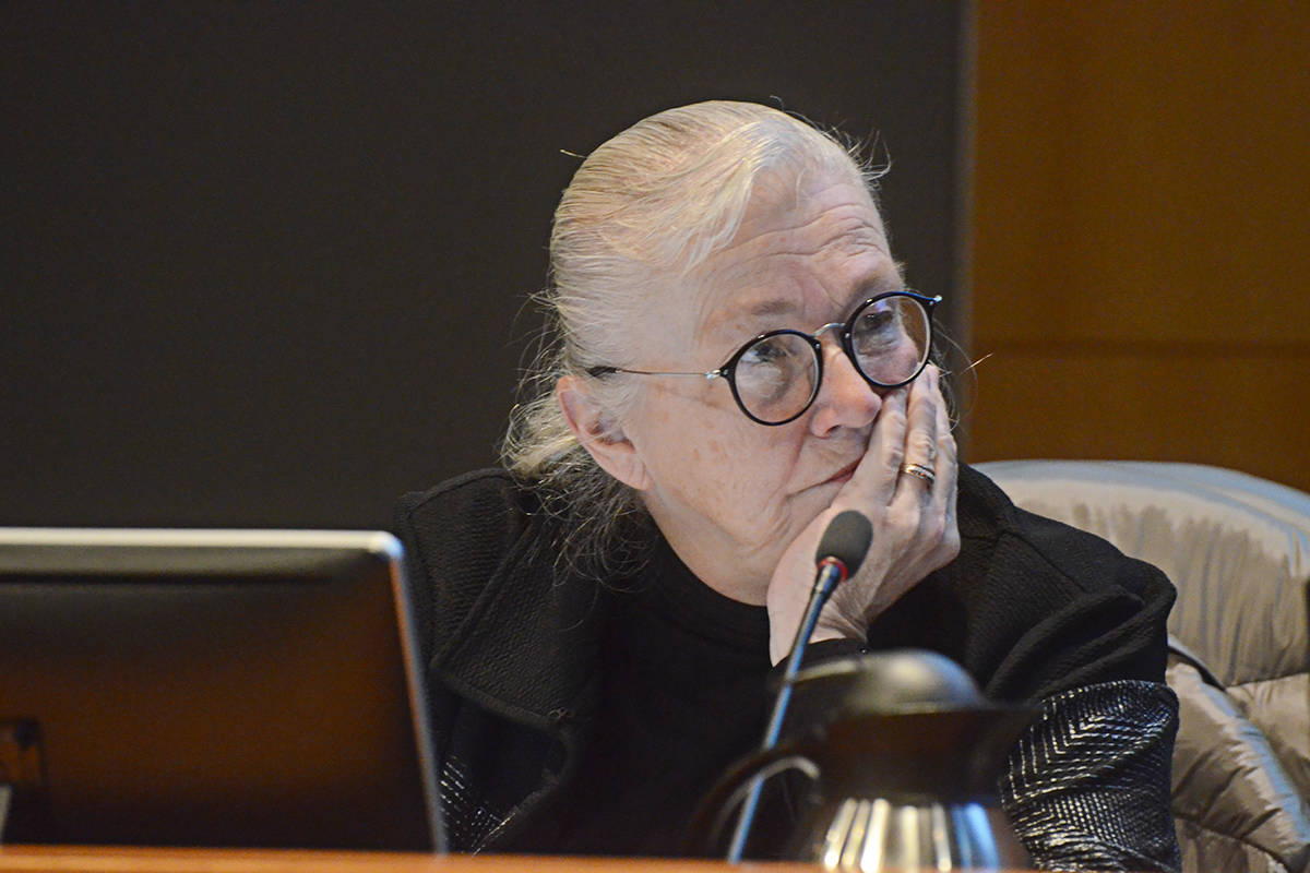 Township Councillor Kim Richter at the Feb. 10 2020 budget meeting. (Matthew Claxton/Langley Advance Times)