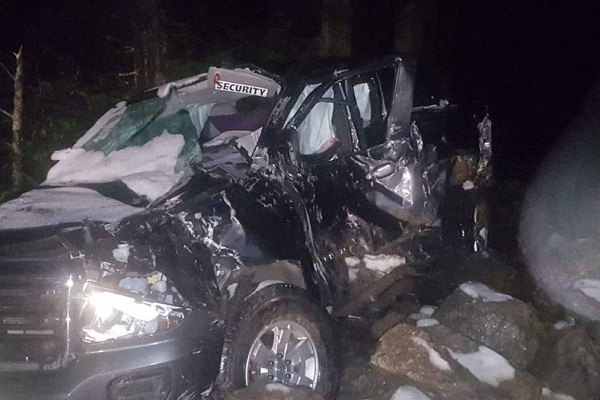 Vancouver Island couple lucky to be alive as rock slide crushes their truck