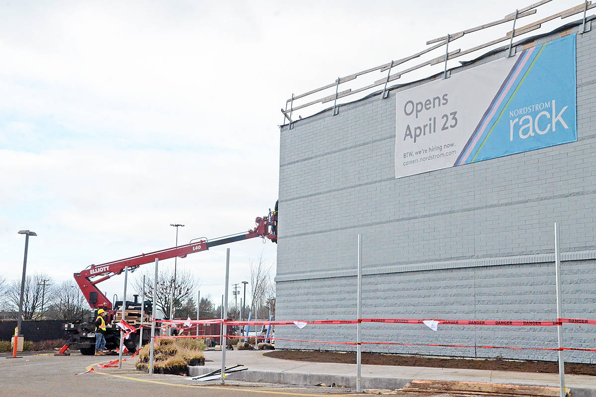 Crews were working on the exterior of the new Nordstrom rack at Willowbrook Shopping Centre in Langley on Tuesday, Feb. 11. (Matthew Claxton/Langley Advance Times)