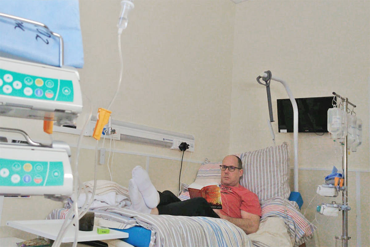 Willoughby resident Geoff McNeill and his wife Caroline underwent a procedure at the Maximov Hospital in Moscow hospital in January that used their own stem cells in combination with high dose chemotherapy to treat their MS (Caroline McNeill/special to Langley Advance Times)