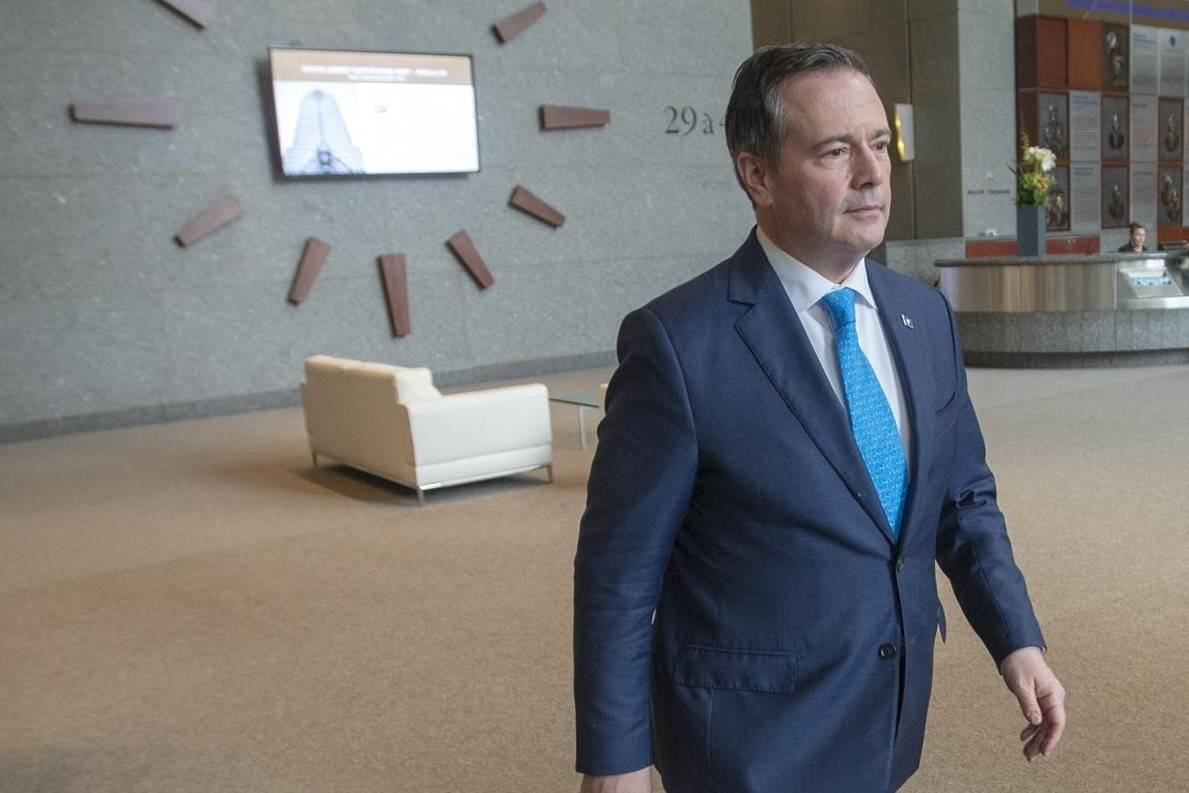 Alberta Premier Jason Kenney leaves after speaking to the media Tuesday, February 4, 2020 in Montreal.THE CANADIAN PRESS/Ryan Remiorz