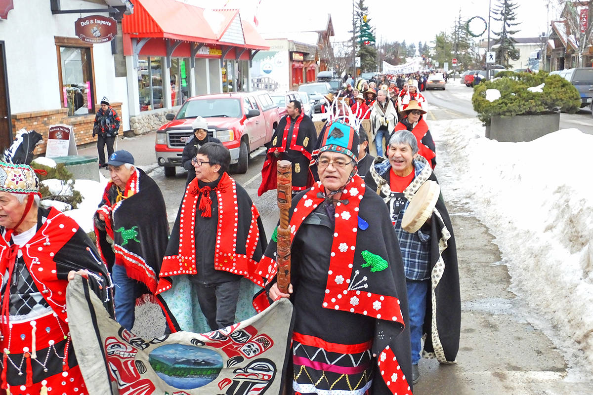 FILE – Marching down Highway 16 in February 2019 in Smithers. B.C., chiefs gather in Smithers to support Wet'suwet'en hereditary chiefs' position on Unist'ot'en camp and opposition to Coastal GasLink natural gas pipeline. (Chris Gareau photo)