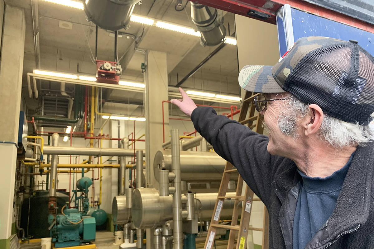 Chilliwack Coliseum assistant engineer John McKerracher on Feb. 11, 2020 points to work done inside the ammonia plant at the rink done in 2019 to meet WorkSafeBC requirements. The Chiefs Development Group was fined more than $3,500 on June 18, 2019. (Paul Henderson/ The Progress)