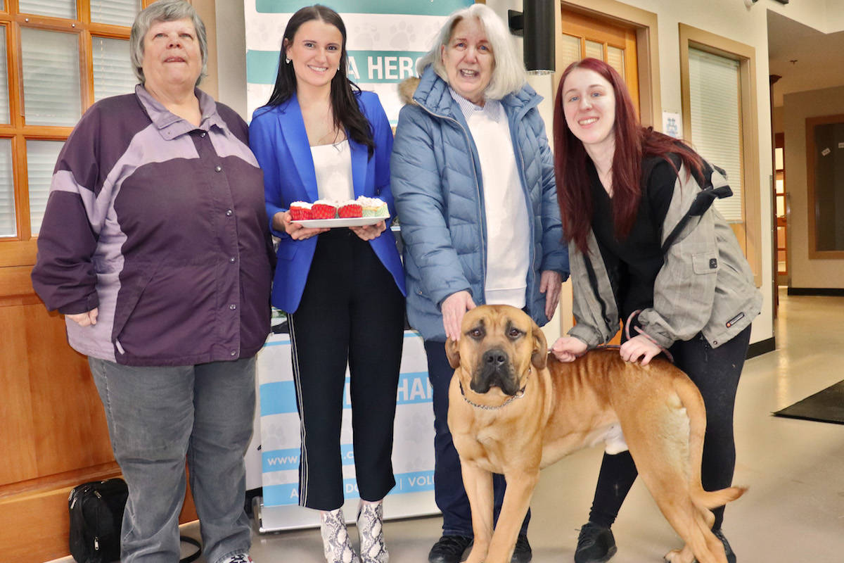 LAPS United bakers Nadine Bennett (left) and Lynne Dennis, stand with LAPS' Drew Harkness and Marshall and his handler Brooke Vilbert (right). (Sarah Grochowski photo)
