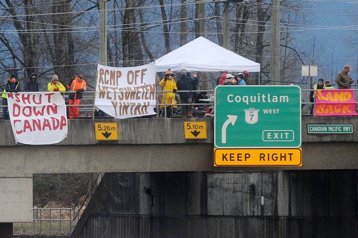 Pipeline protesters have set up on eastbound tracks, just east of Pitt River, above Mary Hill Bypass. Colleen Flanagan – THE NEWS