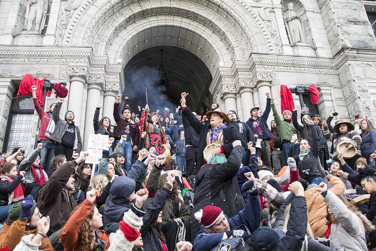 Hundreds of demonstrators block access to the BC Legislature in Victoria on Feb. 11, 2020 in support of the First Nations hereditary chiefs who are fighting a natural gas pipeline in northern B.C. (Nina Grossman/News Staff)