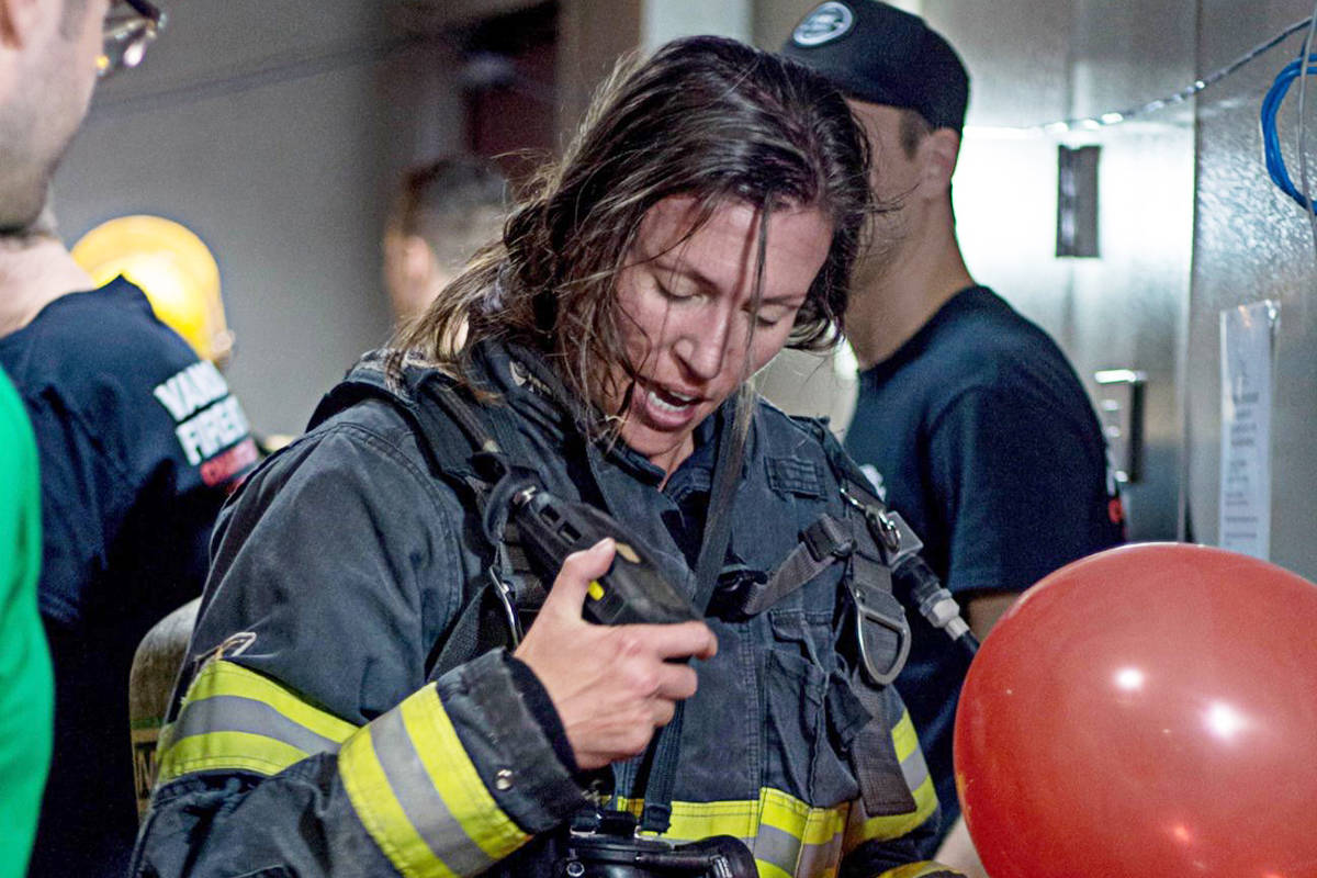Langley Township firefighter Anna Thompson was photographed just after completing her first Climb the Wall Event in 2018. (Photo contributed)