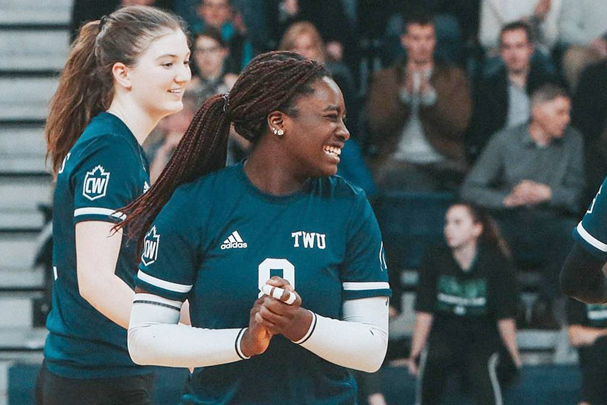 Spartans women's volleyball team clinched first-place in Canada West with a straight-sets (25-16, 25-16, 25-19) win over Thompson Rivers Friday, Feb. 14 at Tournament Capital Centre. (TWU)