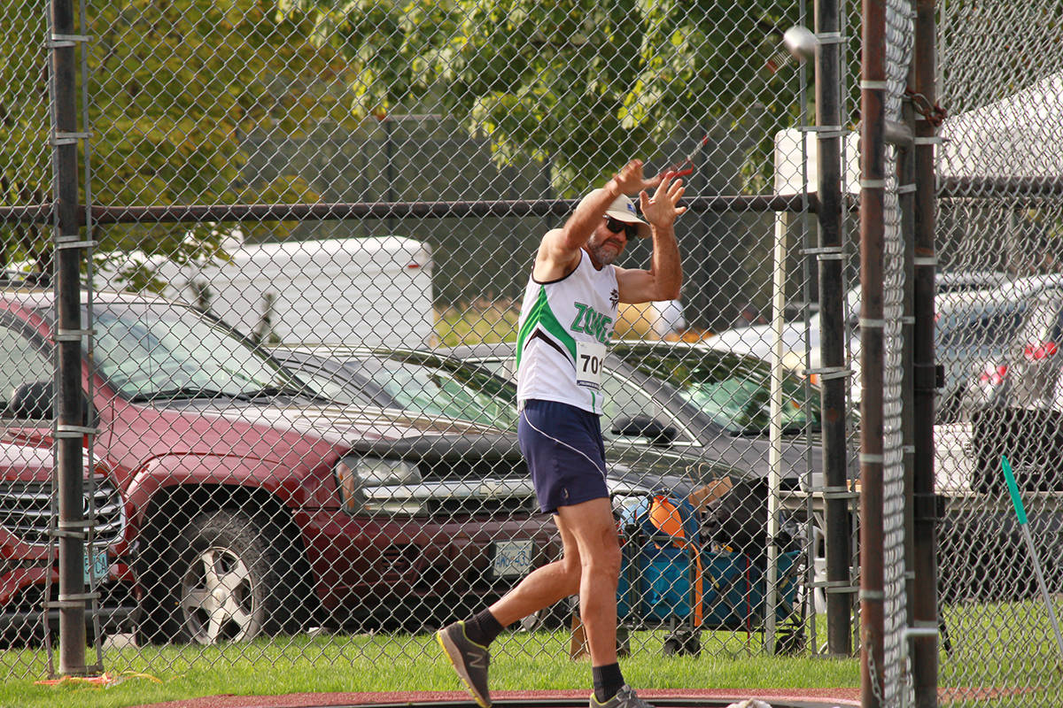 Sven Donaldson competes in the hammer throw during the 2019 B.C. 55-Plus Games in Kelowna. (Robert Huth/B.C. 55-Plus Games photo)