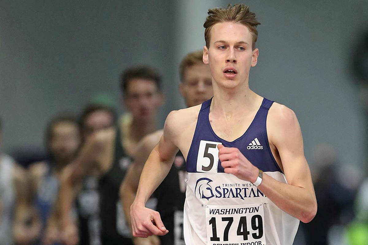 Langley runner Nick Colyn bettered his previous personal record for the mile by more than a second at the Husky Classic in Seattle on Saturday, Feb. 15. (TWU)