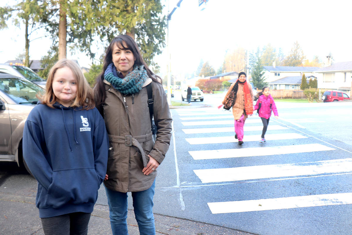 Mother Cashmere Roder and student Mya Grainger have joined forces to push the Township for added safety measures at a crosswalk near Shortreed Elementary. (Sarah Grochowski photo)
