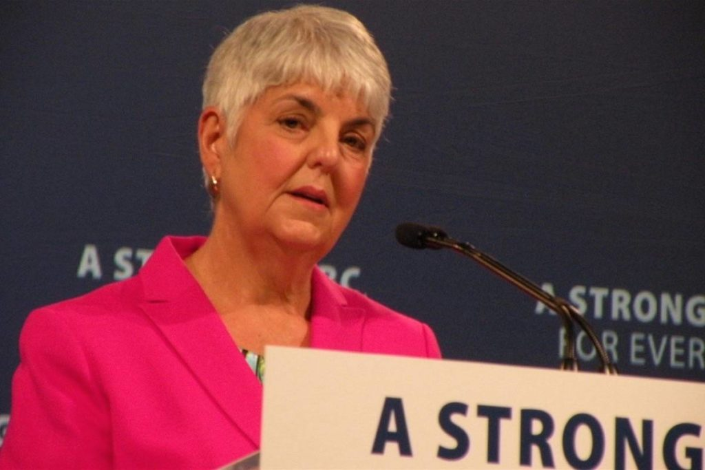B.C. Finance Minister Carole James announced a new post-secondary grant during the revealing of the provincial government's 2020 budget. (Tom Fletcher/News Staff)