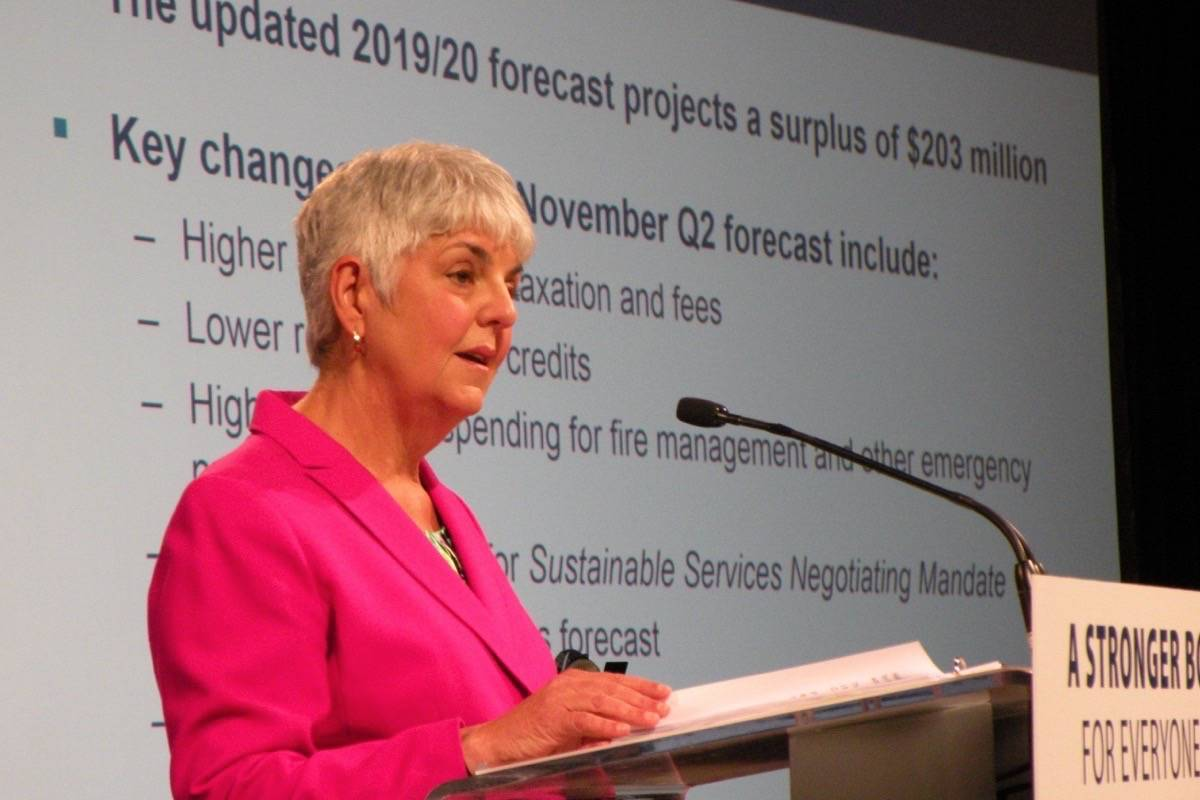 B.C. Finance Minister Carole James presents her 2020 budget at the Victoria Conference Centre, Feb. 18, 2020. (Tom Fletcher/Black Press)