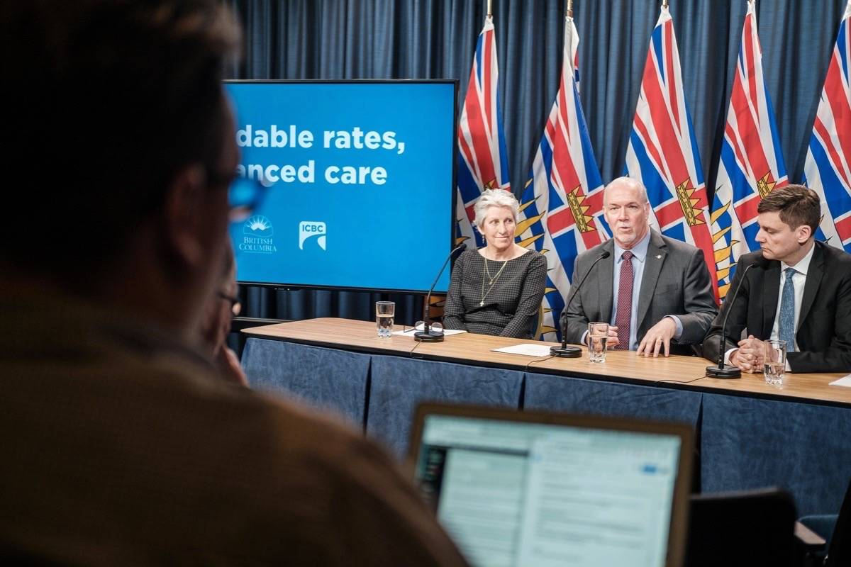 B.C. Premier John Horgan and Attorney General David Eby announce plans for rate changes to ICBC Feb. 6. (Tom Fletcher/News Staff)