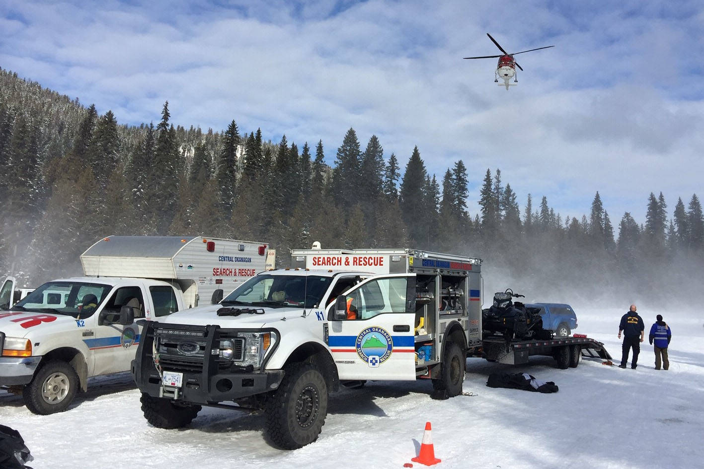 The Central Okanagan Search and Rescue were called in to help with the successful rescue of a 14-year-old Kelowna snowmobiler who was lost overnight in the Greystokes area of Kelowna. (Contributed)