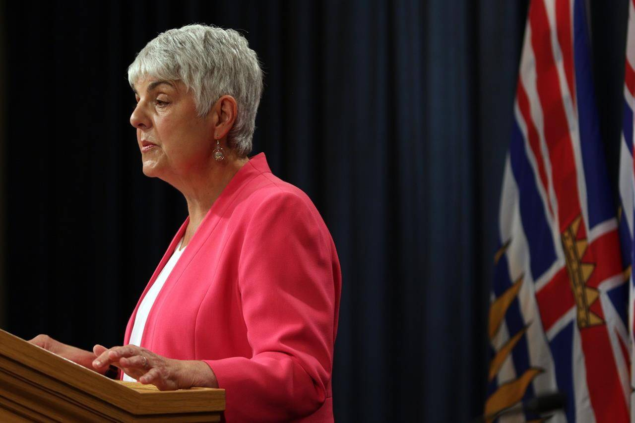 British Columbia's finance minister is promising to stay the course in her next budget to be tabled Tuesday in the legislature, while also monitoring potential storm clouds looming over the economy. Finance Minister Carole James releases the provincial public accounts report during a press conference at the press gallery at B.C. Legislature in Victoria, Thursday, July 18, 2019. THE CANADIAN PRESS/Chad Hipolito