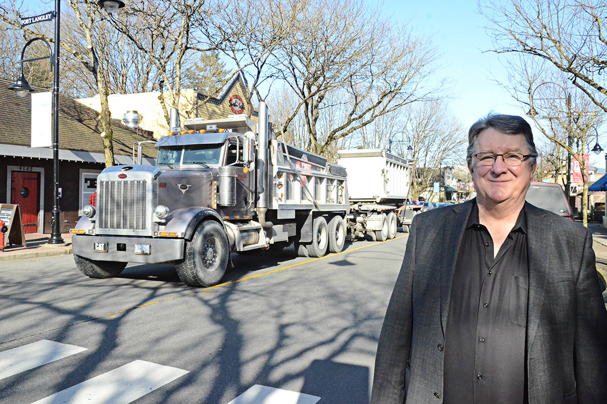 Andy Schildhorn, president of the Fort Langley Community Association, wants to see big trucks like this one diverted around Fort Langley in the future. (Matthew Claxton/Langley Advance Times)