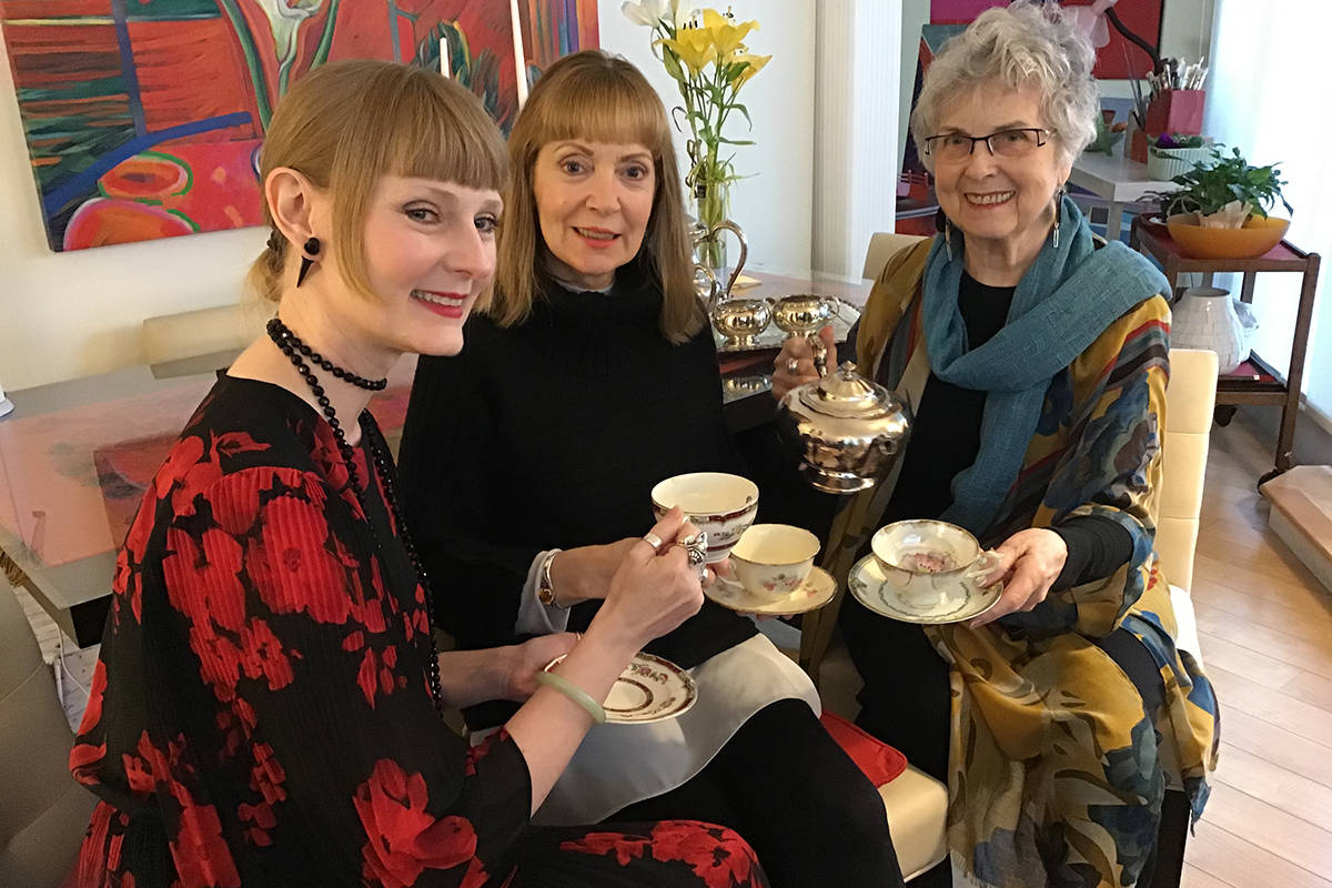 Kat Siemens, Marilyn Dyer, and Susan Falk have their work displayed at Better Nudes and Gardens art and vintage display, and invite guests to come check it out while having a cup of tea. (Susan Falk/Special to the Langley Advance Times)