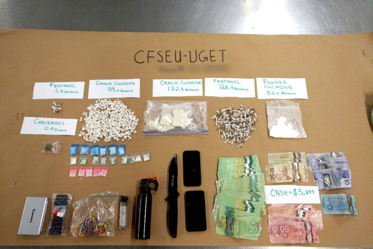 CFSEU BC seized fentanyl, cocaine, cannabis and other illegal substances after a foot chase on Feb. 20, 2020. (Police handout)